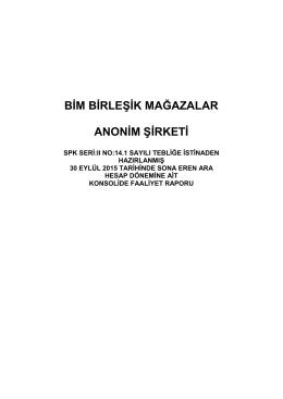 2015 3. Çeyrek Faaliyet Raporu