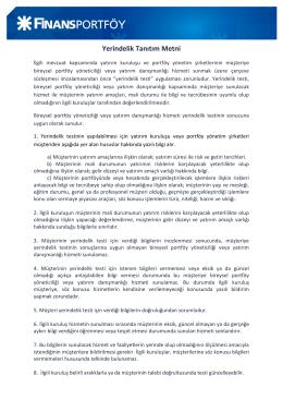 Yerindelik Tanıtım Metni - Finans Portföy Yönetimi