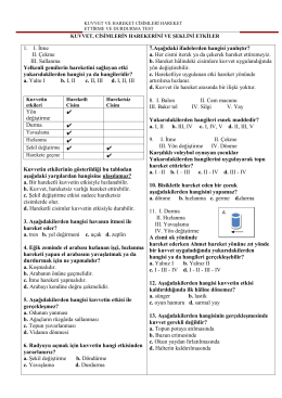 KUVVET VE HAREKET M 36 TEST 11 RDALMIŞ