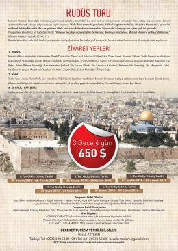 kudüs turu - Bereket Turizm