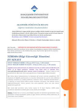 YZM5604 Bilgi Güvenliği Yönetimi EV SINAVI