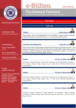 2. Sayı Şubat 2015 - Fen-Edebiyat Fakültesi