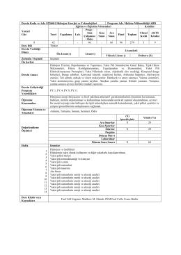 Dersin Kodu ve Adı: 0220601 Hidrojen Enerjisi ve Teknoılojileri