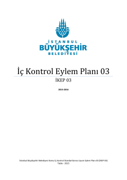 İç Kontrol Eylem Planı 03 - İstanbul Büyükşehir Belediyesi