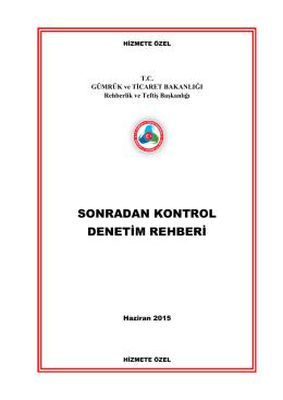 Sonradan Kontrol Denetim Rehberi - Gümrük ve Ticaret Bakanlığı