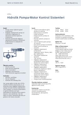 Hidrolik Pompa-Motor Kontrol Sistemleri