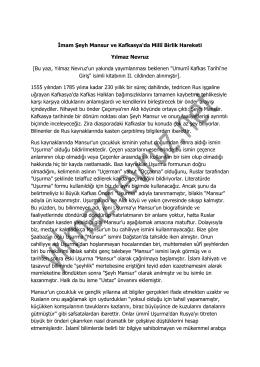 mam Şeyh Mansur ve Kafkasya`da Millî Birlik Hareketi Yılmaz Nevruz