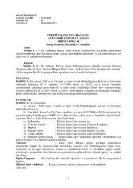 Antrenör Eğitim Talimatı - Türkiye Kano Federasyonu
