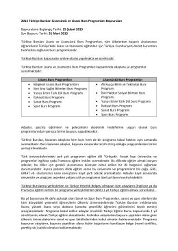 2015 Türkiye Bursları Lisansüstü ve Lisans Burs