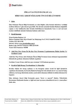 ziraat katılım bankası a.ş. bireysel kredi sözleşme öncesi bilgi formu