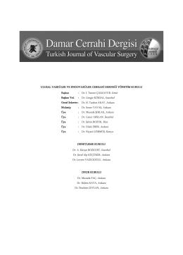 2015-1 Damar Cerrahi Dergisi - Ulusal Vasküler Cerrahi Derneği