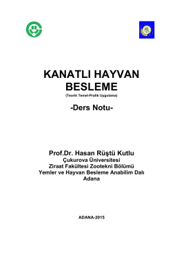 kanatlı hayvan besleme - CU Department of Animal Science, Faculty