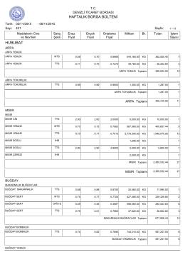6 Kasım Haftalık Bülten - Denizli Ticaret Borsası