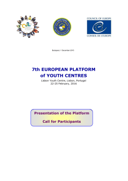 7th EUROPEAN PLATFORM of YOUTH CENTRES