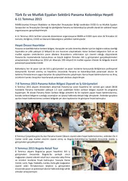 Panama-Kolombiya değerlendirme raporu