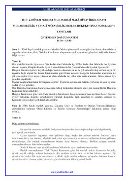 AKTİF AKADEMİ EĞİTİM MERKEZİ www.aktifonline.net 1 2015 / 2