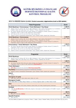 2016 yılı program katılım ücretleri - KBUDEK Eksternal Kalite Kontrol