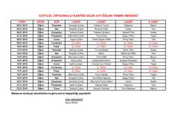 12 Eylül Ortaokulu Kantini Ocak Ayı Yemek Listesi