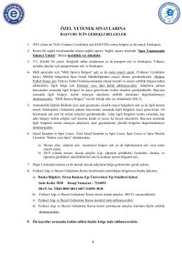 ÖZEL YETENEK SINAVLARINA - Beden Eğitimi ve Spor Yüksekokulu