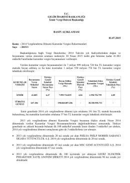 Basın Bülteni - İzmir Vergi Dairesi Başkanlığı