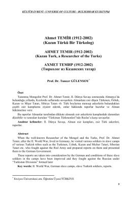 Ahmet TEMİR (1912-2002) (Kazan Türkü Bir Türkolog)
