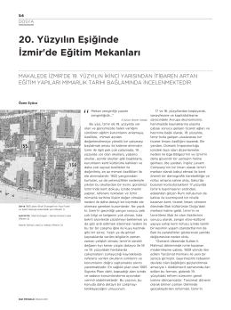 20. Yüzyılın Eşiğinde İzmir`de Eğitim Mekanları