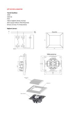 Teknik Özellikler: 10AX 250V AC IP20 Vidasız bağlantı (Kolay