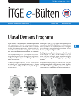 Ulusal Demans Programı (UDP) - İsmail Tufan Gerontoloji Vakfı