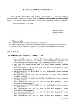 Sayfa 1 / 2 KARESİ BELEDİYE BAŞKANLIĞINDAN Karesi Belediye