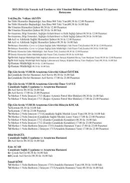 2015-2016 Güz Yarıyılı Acil Yardım ve Afet Yönetimi Bölümü Acil
