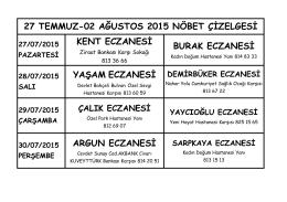27 temmuz-02 ağustos 2015 nöbet çizelgesi kent eczanesi burak