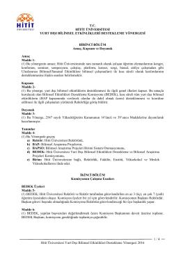 Hitit Üniversitesi Yurt Dışı Bilimsel Etkinlikleri Destekleme Yönergesi