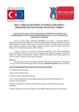 2015-1-TR01-KA102-016931 NUMARALI ERASMUS+ PROJEMİZ
