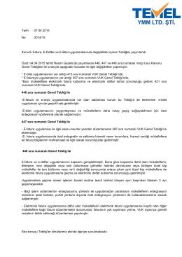 2015-15 Sirküler /E-Fatura, E-Defter ve E-Bilet
