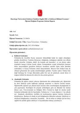 Anıl Badı - Hacettepe Üniversitesi İngiliz Dili ve Edebiyatı Bölümü