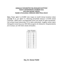 Doç. Dr. Osman YILDIZ - İnşaat Mühendisliği Bölümü