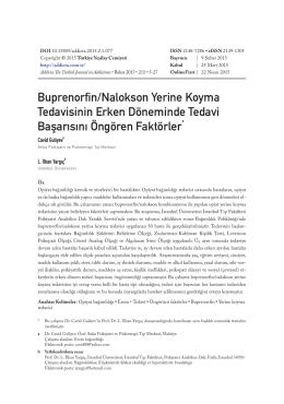 Buprenorfin/Nalokson Yerine Koyma Tedavisinin Erken