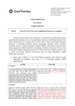 451 Sıra No.lu VUK Genel Tebliği Resmi Gazete`de Yayımlandı.