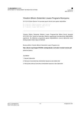 Yönetim Bilişim Sistemleri Lisans Programı Revizyonu