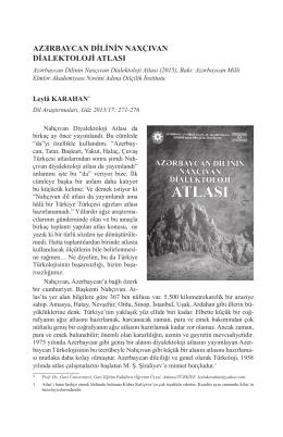 Azärbaycan Dilinin Naxçıvan Dialektoloji Atlası