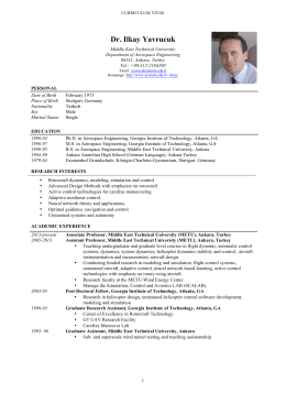 Complete CV - Metu - Middle East Technical University