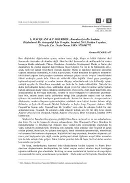 L. WACQUANT & P. BOURDIEU, Bourdieu İçin Bir Anahtar