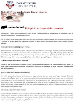 22.04.2015 Çarşamba İzmir Basın Gündemi