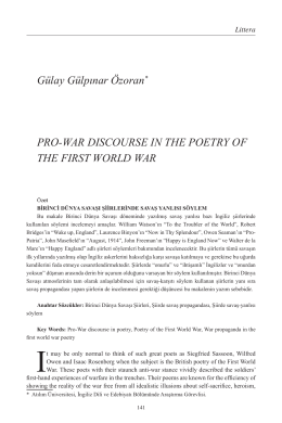 Gülay Gülpınar Özoran* PRO-WAR DISCOURSE IN THE POETRY