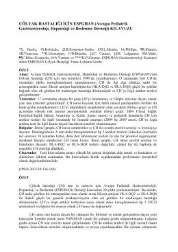 ÇÖLYAK HASTALIĞI İÇİN ESPGHAN (Avrupa Pediatrik