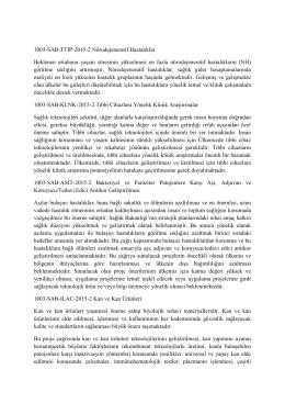 1003-SAB-TTIP-2015-2 Nörodejeneratif Hastalıklar Beklenen