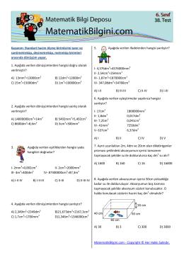 Kazanım: Standart hacim ölçme birimlerini tanır ve santimetreküp