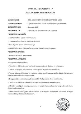 OZEL ACAR KALITE DEGER MILAT TEMEL LISESI-TED