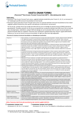 HASTA ONAM FORMU - Perinatal Genetics