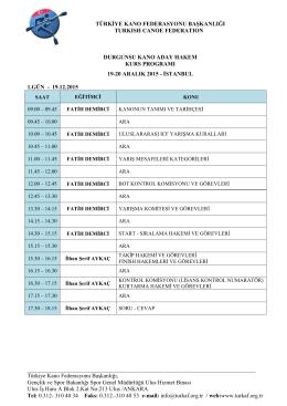 Aday Hakem Kurs Programı - Türkiye Kano Federasyonu